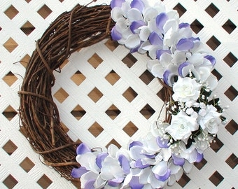 Purple and White Rose Petal Wreath - Spring Wreath - Summer Wreath - Roses Wreath - Floral Wreath - Floral Door Wreath - Door Wreath