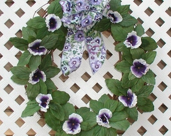 Purple Pansies Grapevine Wreath - Pansies Wreath - Summer Wreath - Spring Wreath - Door Wreath - Floral Wreath - Front Door Wreath - Wreath