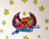 Personalized Skull Door Tattoo reusable fabric wall decal
