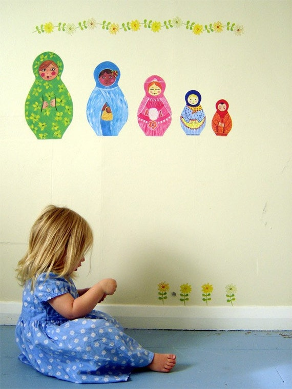 Babushka doll wall stickers - Decals reusable fabric wall stickers