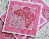 Pink Butterfly Mini Cards - set of 4 with envelopes