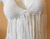Summer White Fringe Halter Top medium