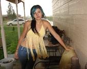 Crochet Yellow Halter Top Hippie Look x-small