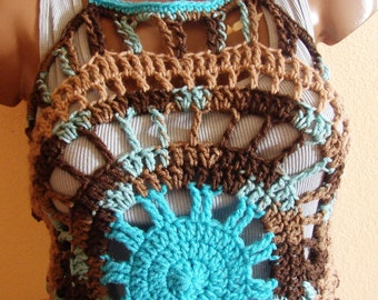 Turquoise  Brown Halter Swim Suit Cover Up