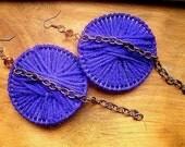 Purple Yarn Hoops w/ Copper Chain