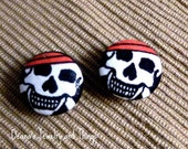 Fabric Skull Button Earrings SM 1""