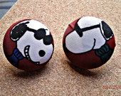 Snoopy Fabric Button Earrings 1.5""