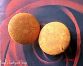 "Orange Burst Fabric Button Earrings 1.5"""