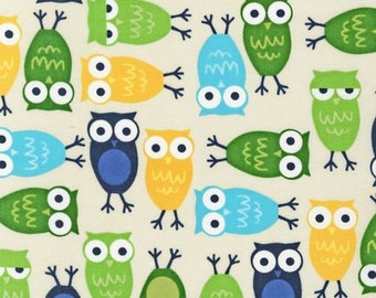 Urban Zoologie Blue Owls by Robert Kaufman, 1 yard, Buy more and SAVE BIG