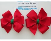 SALE - Red and Green 3 Inch Hair Bows - Pigtail Set