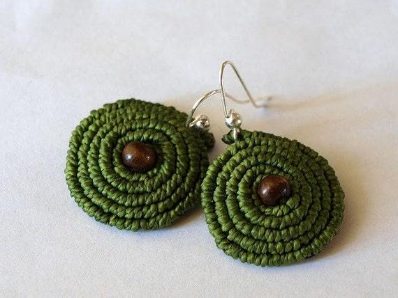 Olive Spiral Earrings