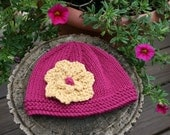 Baby Toddler Knit Hat - Azalea Pink with your choice of flower color