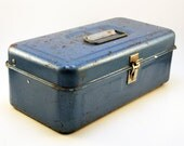 Turquoise Blue Tool Box, with Internal Built-in Tray with three dividers