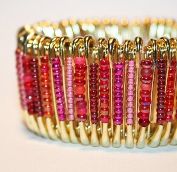 Raspberry Bliss - Safety Pin Bracelet