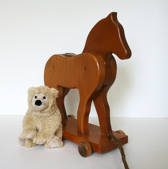 Old-Fashioned Wooden Toy Horse, Pull Toy, Hand-made