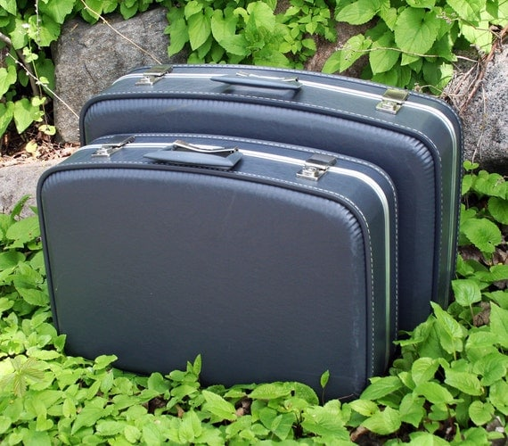 Blue Grey Pair of Vintage Nesting Hard Shell Suitcases