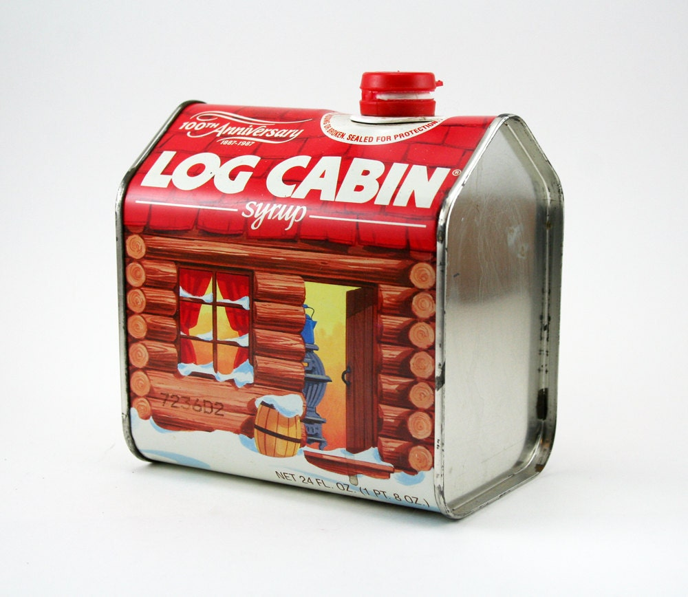 Th anniversary log cabin syrup decanter tin