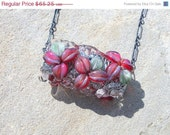 Reserved for Kboa CLEARANCE SALE Ruby Tiger, solid oxidized sterling silver and lampwork boro bead necklace