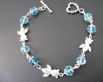 Fish Jewelry Bracelet - Blue Fish Charm Bracelet