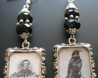 Raven Crow Charm Jewelry Raven Crow Mixed Media Jewelry Earrings Edgar Allen Poe Horror Mystery Macabre