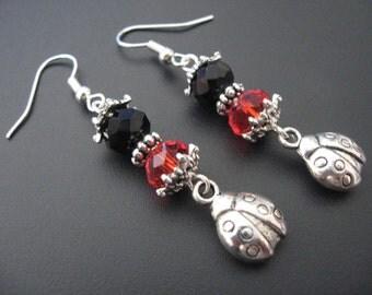 Ladybug Jewelry, Ladybug Earrings, Red Jewelry, Red Earrings, Insect Jewelry, Insect Earrings, Black Jewelry, Black Earrings, Nature Jewelry