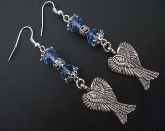 Wings Jewelry Earrings - Angel Earrings - Blue
