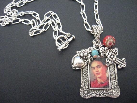 Frida Kahlo Jewelry Necklace - Frida Kahlo Necklace - Southwest Turquoise Necklace