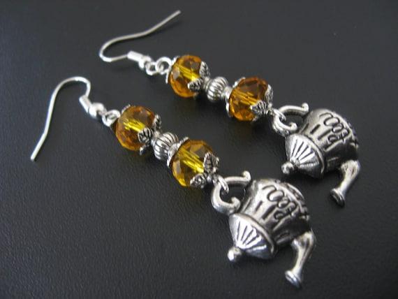 Teapot Jewelry, Alice in Wonderland Jewelry, Tea Party Jewelry, Tea Lover Jewelry, Teapot Earrings, Amber Earrings