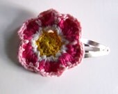 Pink White and Yellow Crocheted Hair Clip