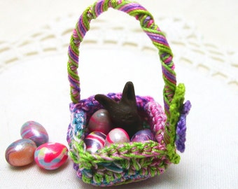Micro Miniature Bunny and Eggs Basket in Bright Pastel