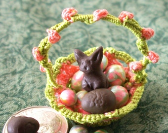 Dime sized Dollhouse Rosebud Basket with Polymer Eggs and Bunny