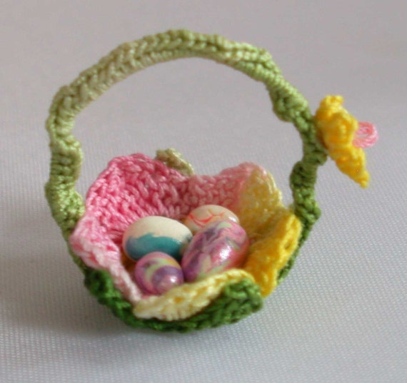 One Inch Scale Bright Pastel Dollhouse Easter Basket