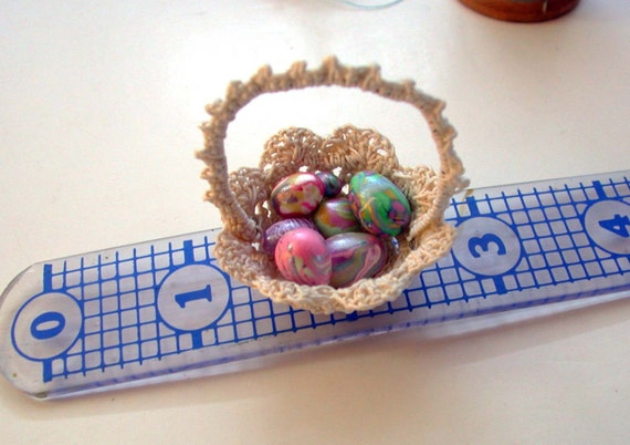 Miniature Cream White Doll House Basket with Handmade Eggs