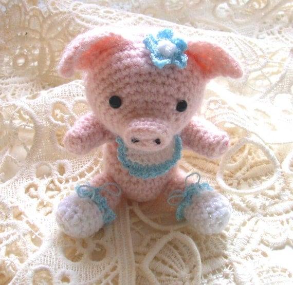 Pink Pig Crochet Amigurumi Amimal Folk Art