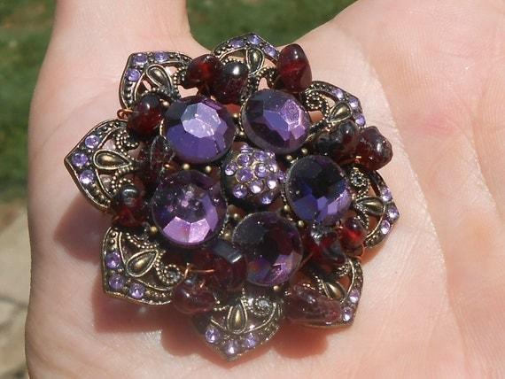 Flower Brooch, rhinestone and metal