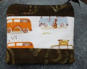 Happy Trails VW Van Zip Pouch Coin Purse Upcycled - VW bag -VW coin purse