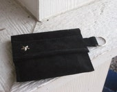 Black Suede Leather Coin Purse - Sale - Leather Suede Wallet