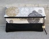 Clutch - Asian Print - Vegan Leather Bottom - Purse - Fold over Clutch