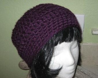 Dark Purple Tam Beanie Flapper Style Bucket Cloche Crocheted Hat