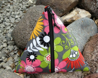 Pyramid Zip Pouch New Design-Treasury Featured Item - Triangle pouch