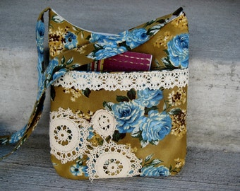 Vintage Floral Look - Bag - Hipster - Cross body - Vintage lace Purse - Handbag SALE