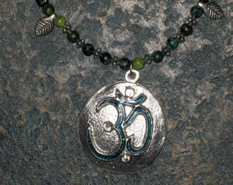 Om necklace Black Onyx and Australian Jasper