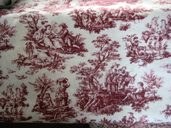 cream and red toile fabric by the yard for by bitchinbagsbybenita. Black Bedroom Furniture Sets. Home Design Ideas