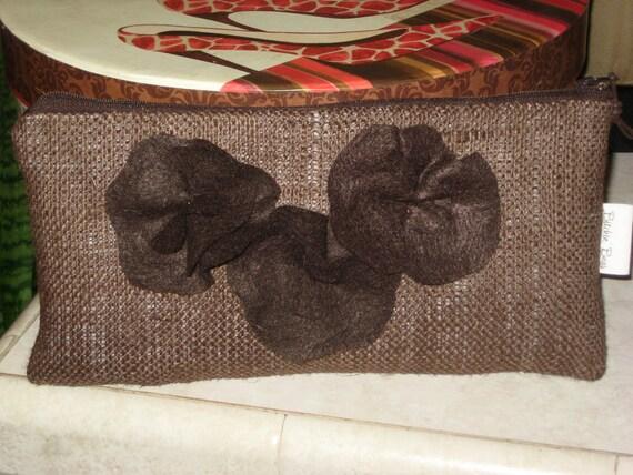 Burlap Clutch with Felt Flowers in Brown