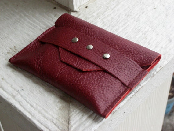 Leather Wallet in Deep dark Red