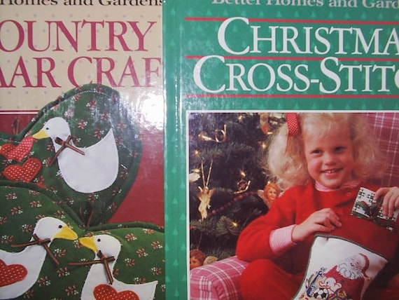 1987 Lot (2) Christmas Cross Stitch and Country Bazaar Better Homes Gardens Vintage Craft Patterns