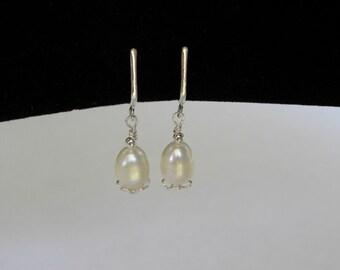 White Pearl Clip On Earrings