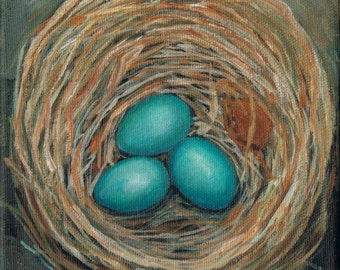 Choose how many Eggs in your Robins Nest Egg Painting  6 x 6 Acrylic on canvas