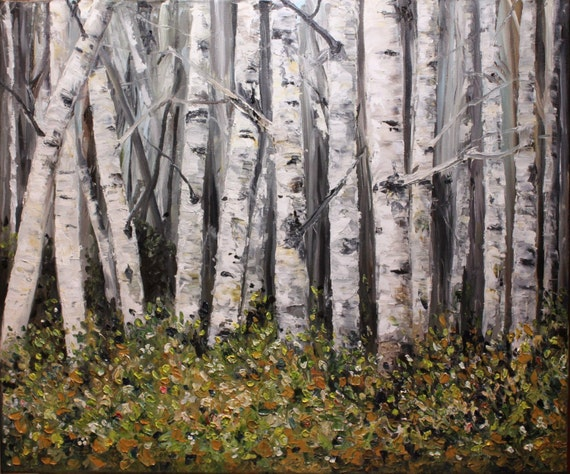 Birch Aspen Tree painting       At the Edge of the Forest 16x20    custom painted and shipped as soon as the paint drys