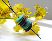 Coconut discs necklace  turquoise and purple